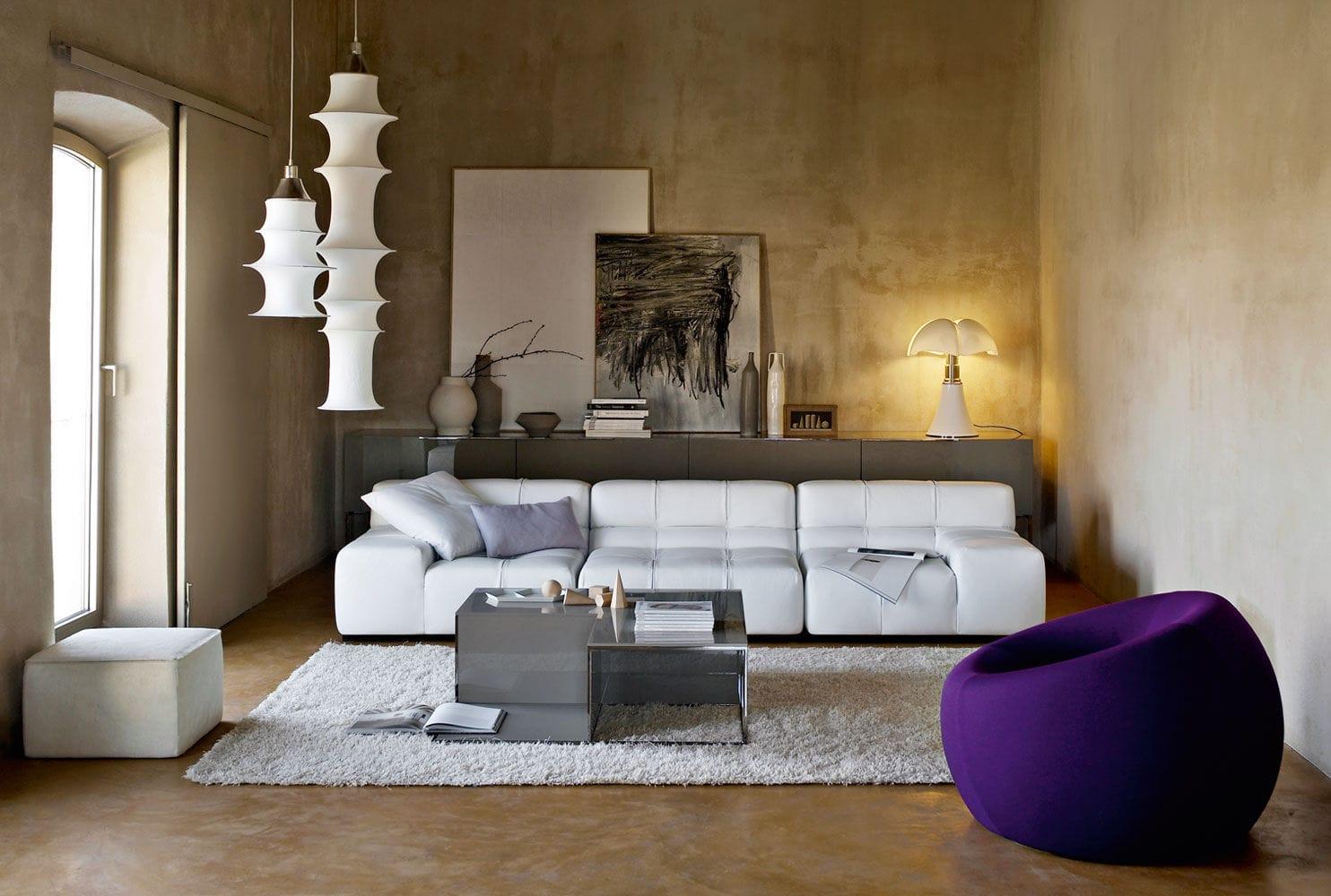 Modular sofa / contemporary / leather / by Patricia Urquiola